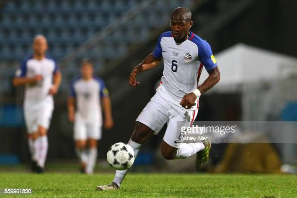 Darlington Nagbe of the United States mens national team runs with the ball during the FIFA World Cup Qualifier match between Trinidad and Tobago at...