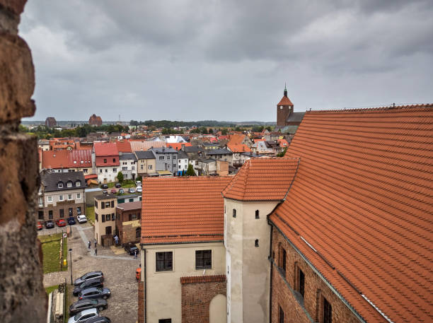 Darlowo town view from Castle of the Pomeranian Dukes during cloudy day of summer.