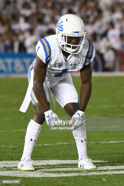 Darnay Holmes lines up on defense during a college football game between the Colorado Buffaloes and the UCLA Bruins on September 30 2017 at the Rose...