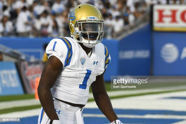 Darnay Holmes looks on before a college football game between the Colorado Buffaloes and the UCLA Bruins on September 30 2017 at the Rose Bowl in...