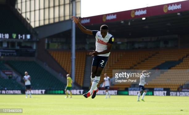 Darnell Fisher of Preston North End celebrates after scoring his team's second goal during the Sky Bet Championship match between Norwich City and...