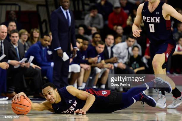 Darnell Foreman of the Pennsylvania Quakers lays out for the ball against the Yale Bulldogs during the first half at The Palestra on February 3 2018...