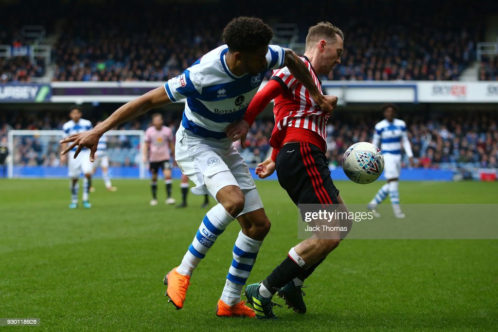 Darnell Furlong of QPR and Aidan McGeady of Sunderland during the Sky Bet Championship match between QPR and Sunderland at Loftus Road on March 10, 2018 in London, England.