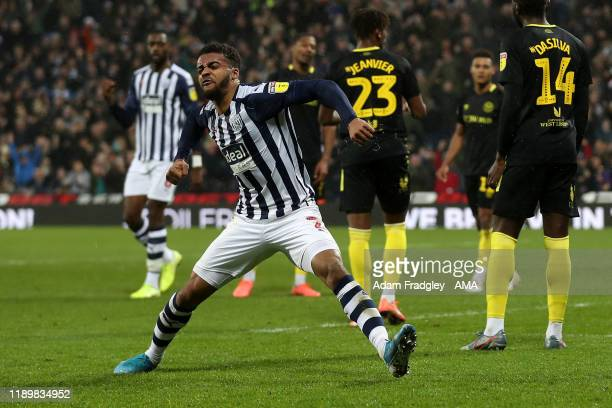 Darnell Furlong of West Bromwich Albion celebrates after scoring a goal to make it 11 during the Sky Bet Championship match between West Bromwich...