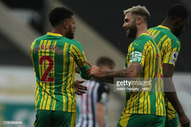 Darnell Furlong of West Bromwich Albion celebrates after scoring a goal to make it 1-1 with Charlie Austin of West Bromwich Albion during the Premier...