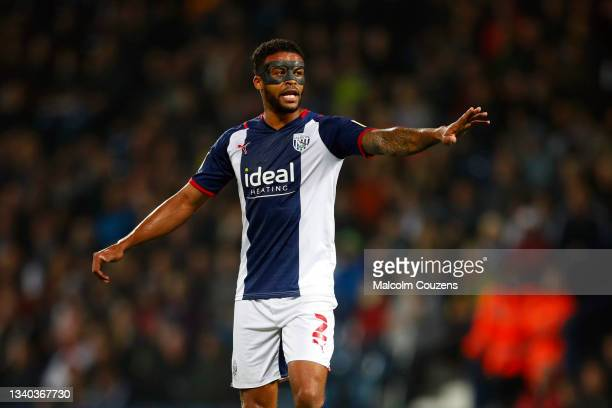 Darnell Furlong of West Bromwich Albion reacts during the Sky Bet Championship match between West Bromwich Albion and Derby County at The Hawthorns...