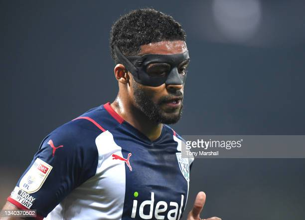 Darnell Furlong of West Bromwich Albion wearing a protective mask during the Sky Bet Championship match between West Bromwich Albion and Derby County...