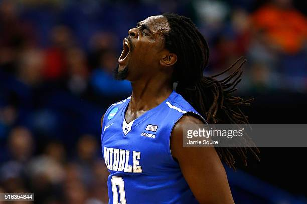 Darnell Harris of the Middle Tennessee Blue Raiders reacts after a basket in the first half against the Michigan State Spartans during the first...
