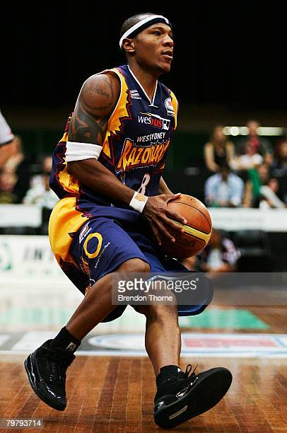 Darnell Hinson of the Razorbacks looks for a pass during the round 22 NBL match between the West Sydney Razorbacks and the Melbourne Tigers at Sydney...