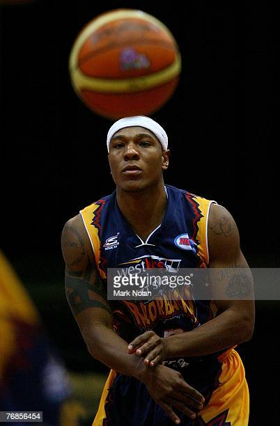 Darnell Hinson of the Razorbacks passes during the round one NBL match between the West Sydney Razorbacks and the Townsville Crocodiles at the Sydney...