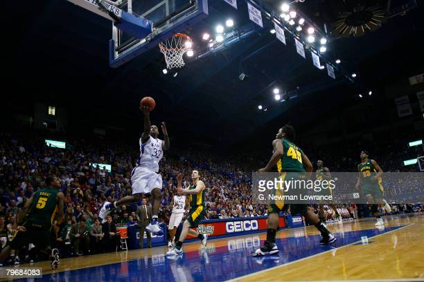 Darnell Jackson of the Kansas Jayhawks goes in for a shot against the Baylor Bears on February 9, 2008 at Allen Fieldhouse in Lawrence, Kansas....