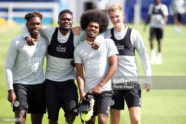 Darnell Johnson, Daniel Amartey, Hamza Choudhury and Josh Knight makes their way out to training during the Leicester City training session at...