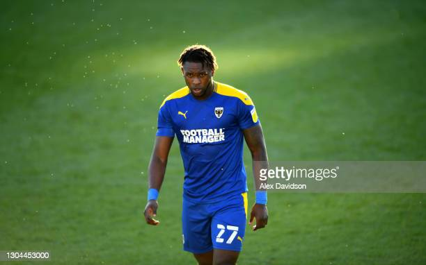 Darnell Johnson of AFC Wimbledon looks on during the Sky Bet League One match between AFC Wimbledon and Hull City at Plough Lane on February 27, 2021...