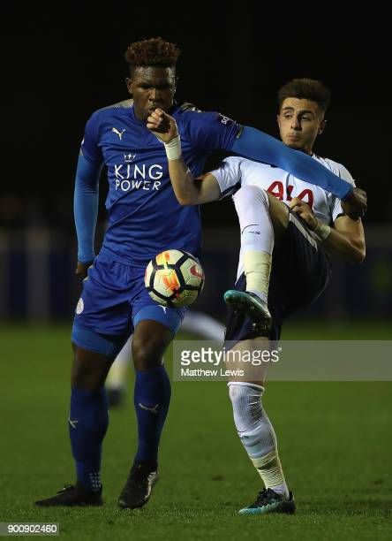 Darnell Johnson of Leicester City and Anthony Georgiou of Spurs challenge for the ball during the Premier League 2 match between Leicester City and...