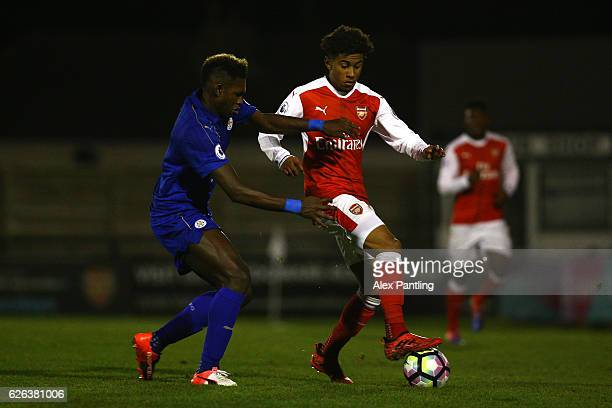Darnell Johnson of Leicester City and Gedion Zelalem of Arsenal in action during the Premier League 2 match between Arsenal and Leicester City at...