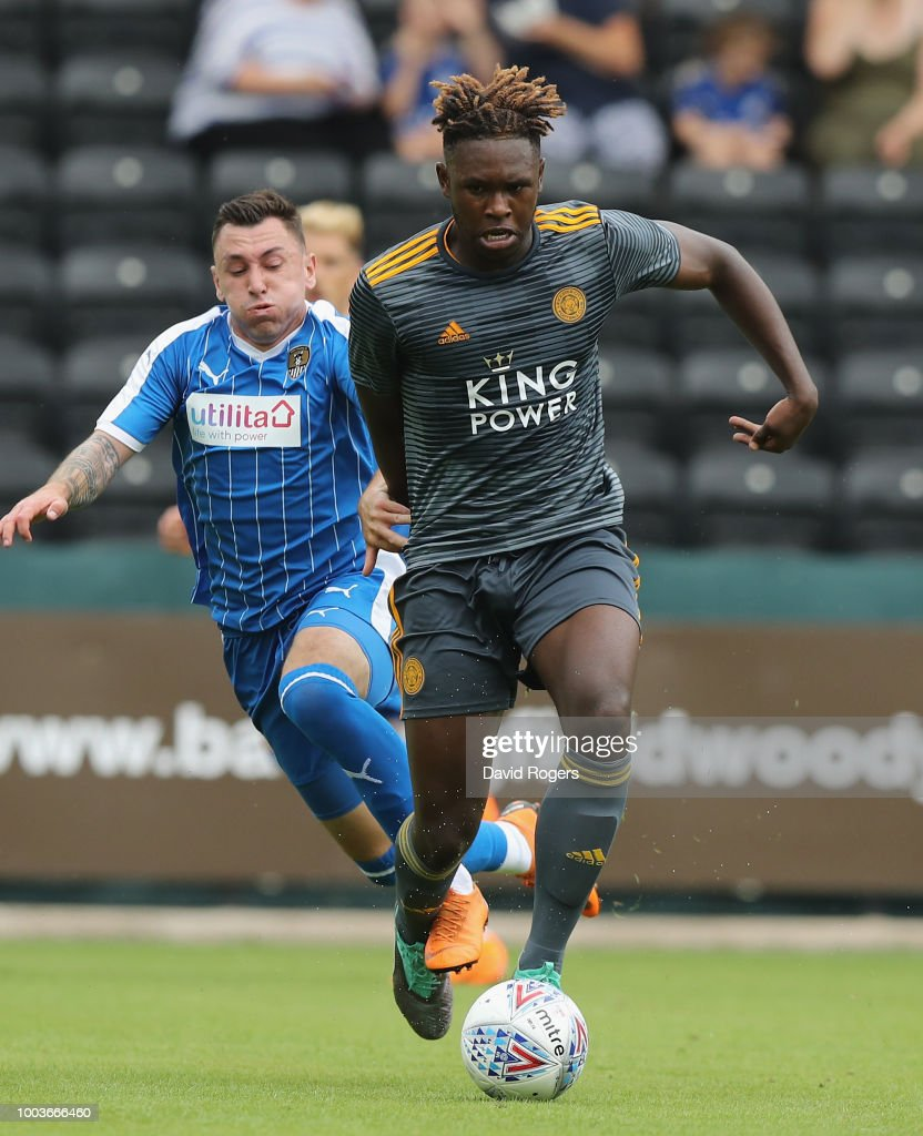 Darnell Johnson of Leicester City breaks with the ball durng the pre-season friendly match between Notts County and Leicester City at Meadow Lane on July 21, 2018 in Nottingham, England.