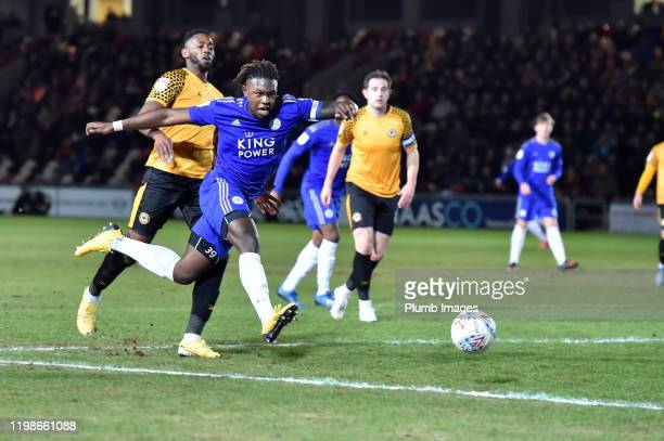 Darnell Johnson of Leicester City during the Leasingcom quarter final match between Newport County and Leicester City U21 at Rodney Parade on...