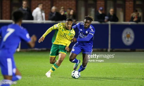 Darnell Johnson of Leicester City in action with Adam Idah of Norwich City during the Premier League Cup tie between Leicester City and Norwich City...