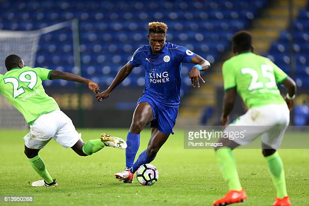 Darnell Johnson of Leicester City in action with Amara Conde of VFL Wolfsburg during the Premier League International Cup match between Leicester...