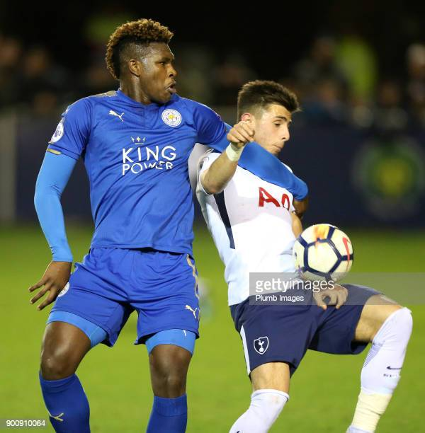 Darnell Johnson of Leicester City in action with Anthony Georgiou of Tottenham Hotspur during the Premier League 2 match between Leicester City and...