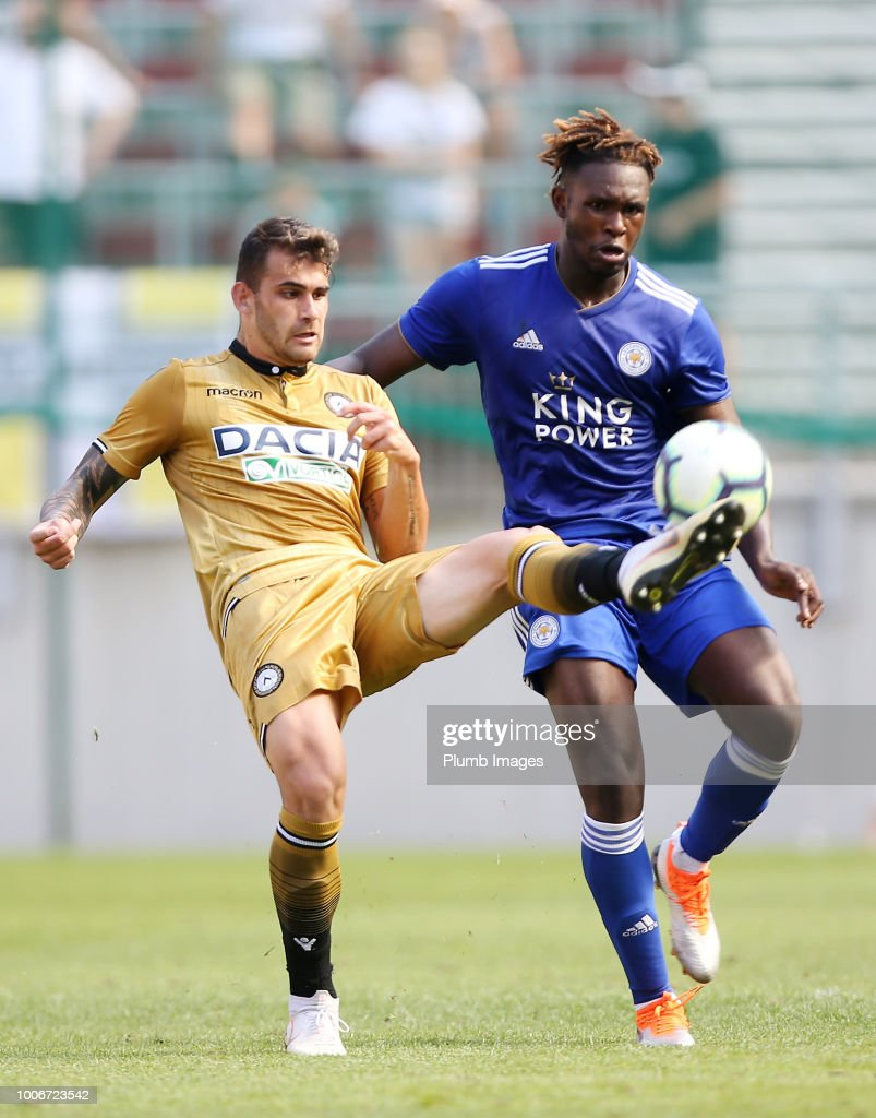 Darnell Johnson of Leicester City in action with Felipe Vizeu of Udinese during the pre-season friendly match between Leicester City and Udinese at Worthersee Stadion on July 28, 2018 in Klagenfurt, Austria.