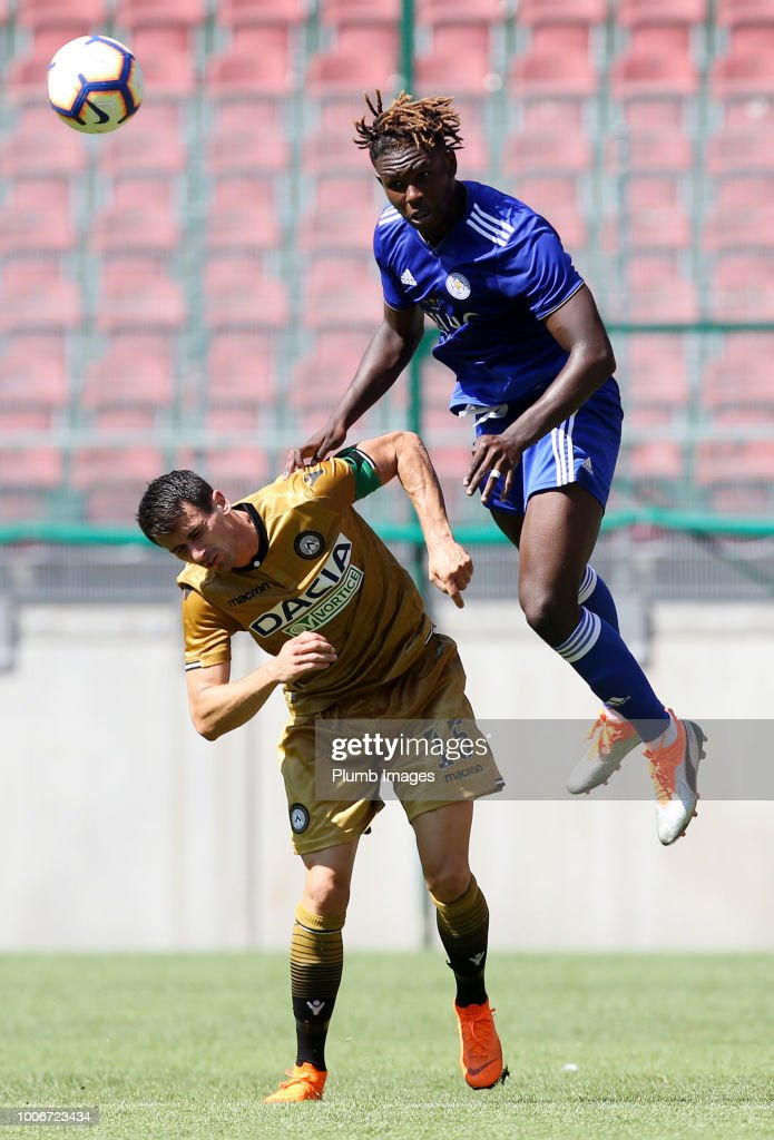 Darnell Johnson of Leicester City in action with Kevin Lasagna of Udinese during the pre-season friendly match between Leicester City and Udinese at Worthersee Stadion on July 28, 2018 in Klagenfurt, Austria.