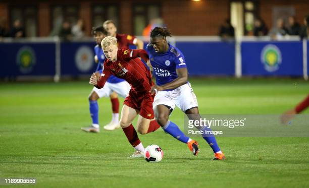 Darnell Johnson of Leicester City in action with Luis Longstaff of Liverpool during the Premier League 2 match between Leicester City and Liverpool...