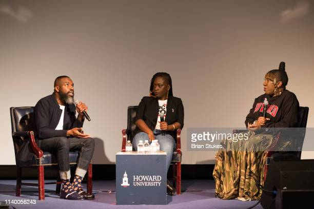 Darnell Moore Dr Yaba Blay and Founder me too Movement Tarana Burke onstage during me too Conversation About Sexual Violence and Assault at Cramton...
