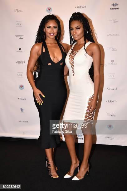 Darnell Nicole and Ashley Wheeler attend the Keva J Swimwear S/S 2018 fashion show at Loews Miami Beach Hotel on July 21 2017 in Miami Beach Florida