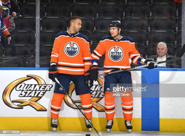 Darnell Nurse and Andrej Sekera of the Edmonton Oilers warm up prior to the game against the Montreal Canadiens on December 23 2017 at Rogers Place...