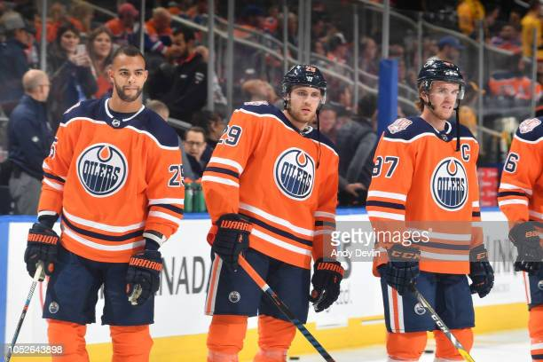 Darnell Nurse Leon Draisaitl and Connor McDavid of the Edmonton Oilers warm up prior to the game against the Nashville Predators on October 20 2018...