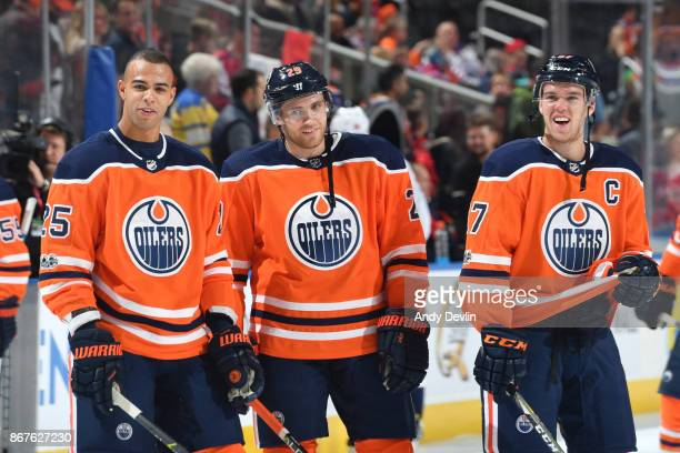 Darnell Nurse Leon Draisaitl and Connor McDavid of the Edmonton Oilers warm up prior to the game against the Washington Capitals on October 28 2017...