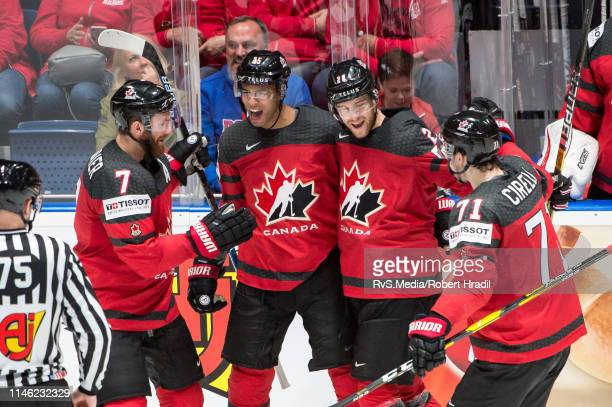 Darnell Nurse of Canada celebrates his goal with teammates during the 2019 IIHF Ice Hockey World Championship Slovakia semi final game between Canada...