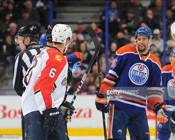 Darnell Nurse of the Edmonton Oilers exchanges words with Alex Petrovic of the Florida Panthers on January 10 2016 at Rexall Place in Edmonton...