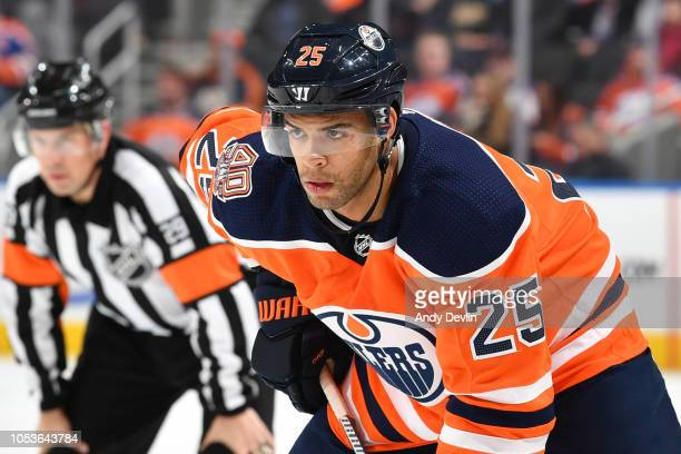 Darnell Nurse of the Edmonton Oilers lines up for a face off during the game against the Washington Capitals on October 25 2018 at Rogers Place in...