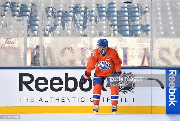 Darnell Nurse of the Edmonton Oilers practices in advance of the 2016 Tim Hortons NHL Heritage Classic game at Investors Group Field on October 22...