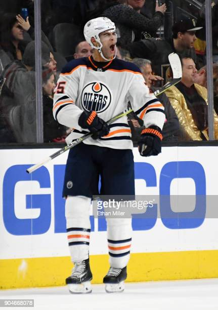 Darnell Nurse of the Edmonton Oilers reacts after scoring an overtime goal against the Vegas Golden Knights to win their game 32 at TMobile Arena on...