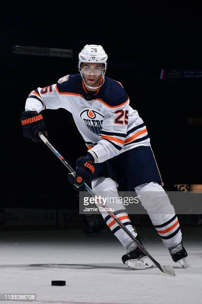 Darnell Nurse of the Edmonton Oilers skates against the Columbus Blue Jackets on March 2 2019 at Nationwide Arena in Columbus Ohio