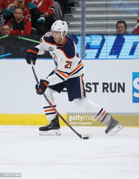 Darnell Nurse of the Edmonton Oilers skates against the New Jersey Devils at Scandinavium on October 6 2018 in Gothenburg Sweden