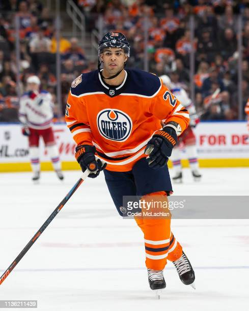 Darnell Nurse of the Edmonton Oilers skates against the New York Rangers at Rogers Place on March 11 2019 in Edmonton Alberta Canada