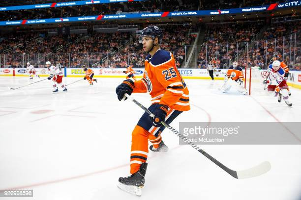 Darnell Nurse of the Edmonton Oilers skates against the New York Rangers at Rogers Place on March 3 2018 in Edmonton Canada