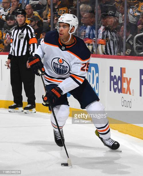 Darnell Nurse of the Edmonton Oilers skates against the Pittsburgh Penguins at PPG PAINTS Arena on November 2 2019 in Pittsburgh Pennsylvania