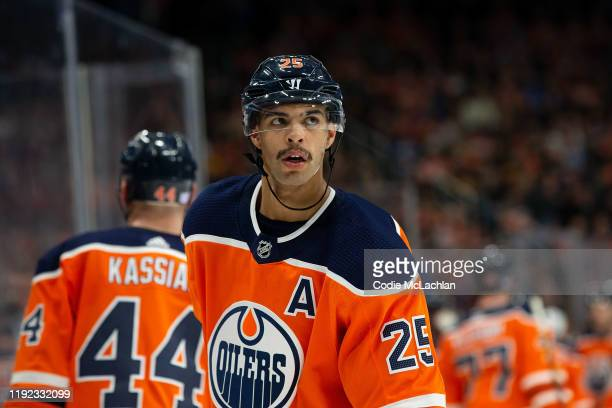Darnell Nurse of the Edmonton Oilers skates against the Vancouver Canucks at Rogers Place on November 30 2019 in Edmonton Canada