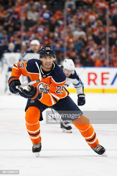 Darnell Nurse of the Edmonton Oilers skates against the Winnipeg Jets at Rogers Place on October 9 2017 in Edmonton Canada