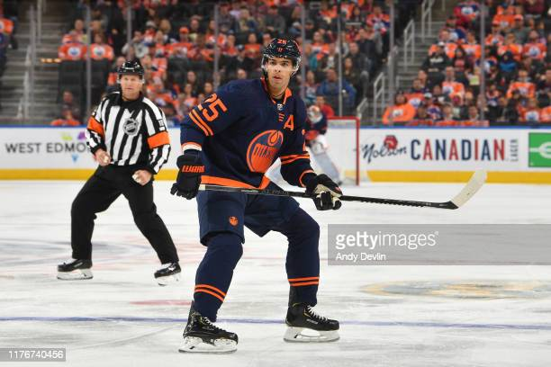 Darnell Nurse of the Edmonton Oilers skates during the game against the Detroit Red Wings on October 18 at Rogers Place in Edmonton Alberta Canada