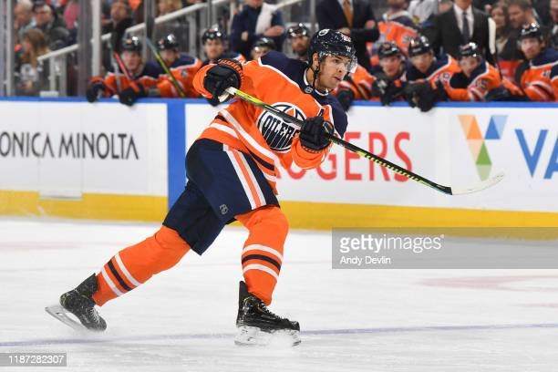 Darnell Nurse of the Edmonton Oilers skates during the game against the Buffalo Sabres on December 8 at Rogers Place in Edmonton Alberta Canada