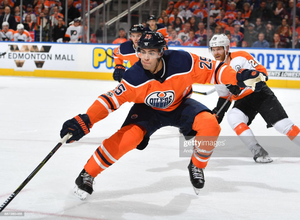 Darnell Nurse #25 of the Edmonton Oilers skates during the game against the Philadelphia Flyers on December 6, 2017 at Rogers Place in Edmonton, Alberta, Canada.