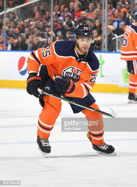 Darnell Nurse of the Edmonton Oilers skates during the game against the Boston Bruins on February 20 2018 at Rogers Place in Edmonton Alberta Canada