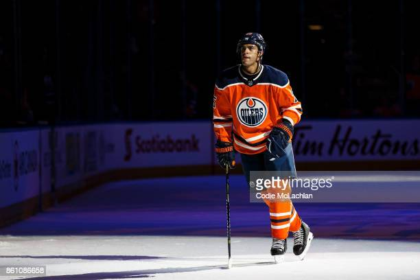 Darnell Nurse of the Edmonton Oilers skates on the ice after being named one of the three stars of the game against the Winnipeg Jets at Rogers Place...