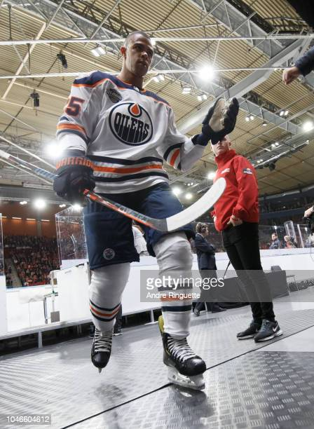 Darnell Nurse of the leaves the ice after warmup prior to a game against the New Jersey Devils at Scandinavium on October 6 2018 in Gothenburg Sweden
